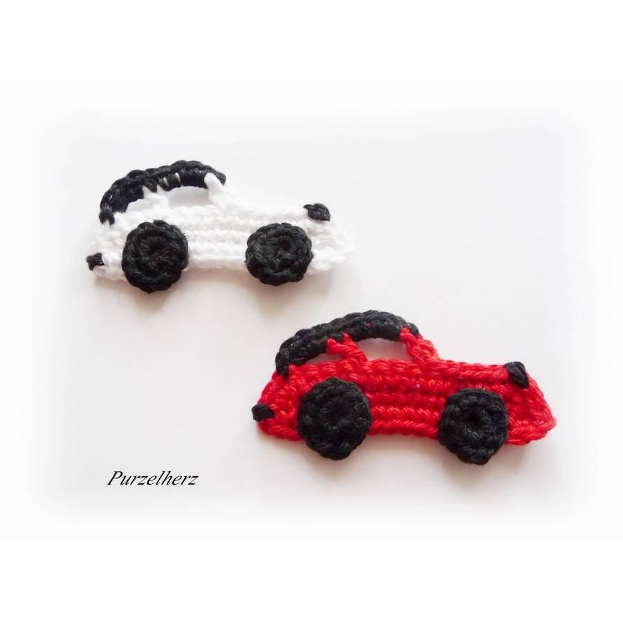 2 gehäkelte Sportautos - PURZELFLITZER - Rennwagen - Sportwagen - Häkelapplikation - Aufnäher - rot, weiß Bild 1