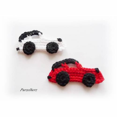 2 gehäkelte Sportautos - PURZELFLITZER - Rennwagen - Sportwagen - Häkelapplikation - Aufnäher - rot, weiß