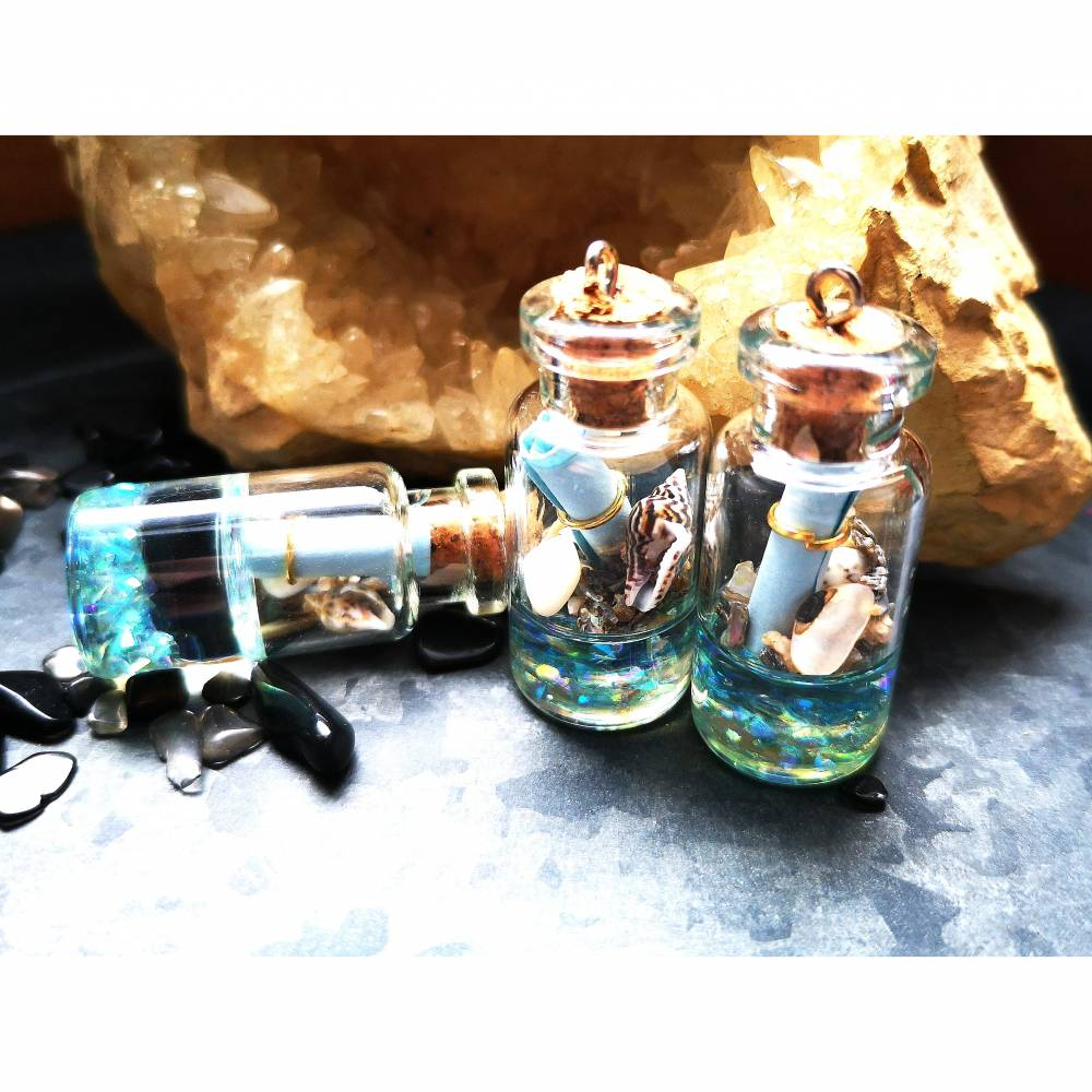 Glasflasche mit Korken, martim, Flaschenpost, Glasanhänger Bild 1