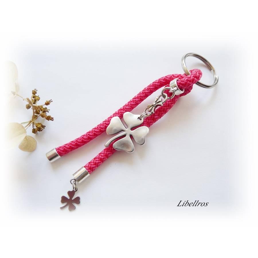 Schlüsselanhänger aus Segelseil/Segeltau mit Kleeblatt - Anhänger Klee - Glücksbringer,Geschenk - trendy,modern - pink,silber Bild 1