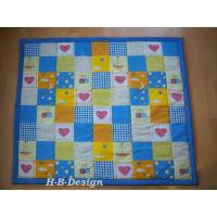 Babydecke, Kuscheldecke, in Patchworkart genäht, Herzen, Wolken, Sterne, blau-bunt Bild 1