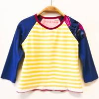 Langarmshirt 98 / 104, blau gelb rosa, Mustermix, Mädchentop, Shirt, Unikat, Upcycling Bild 1