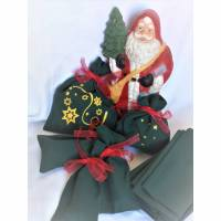 Adventskalendersäckchen zum Befüllen 1 grün gold rot klassisch Bild 1