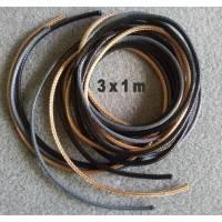 3 Meter Korea Wachsschnur  2 mm  -  je 1 m schwarz, grau und beigebraun - ideal für Halsketten Bild 1