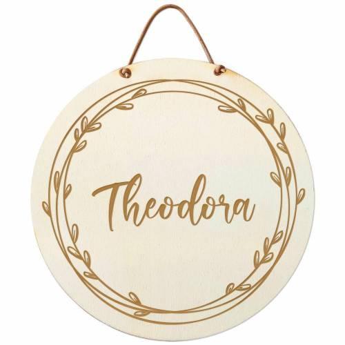Namensschild Holz rund Geburt Taufe Türschild personalisiert Geschenk Baby Junge Mädchen Hochzeit Kinderzimmer Gravur  Anker