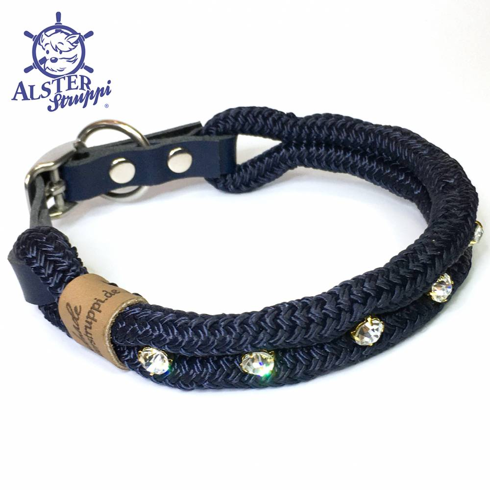 Hundehalsband verstellbar blau Strass mit Leder und Schnalle Bild 1