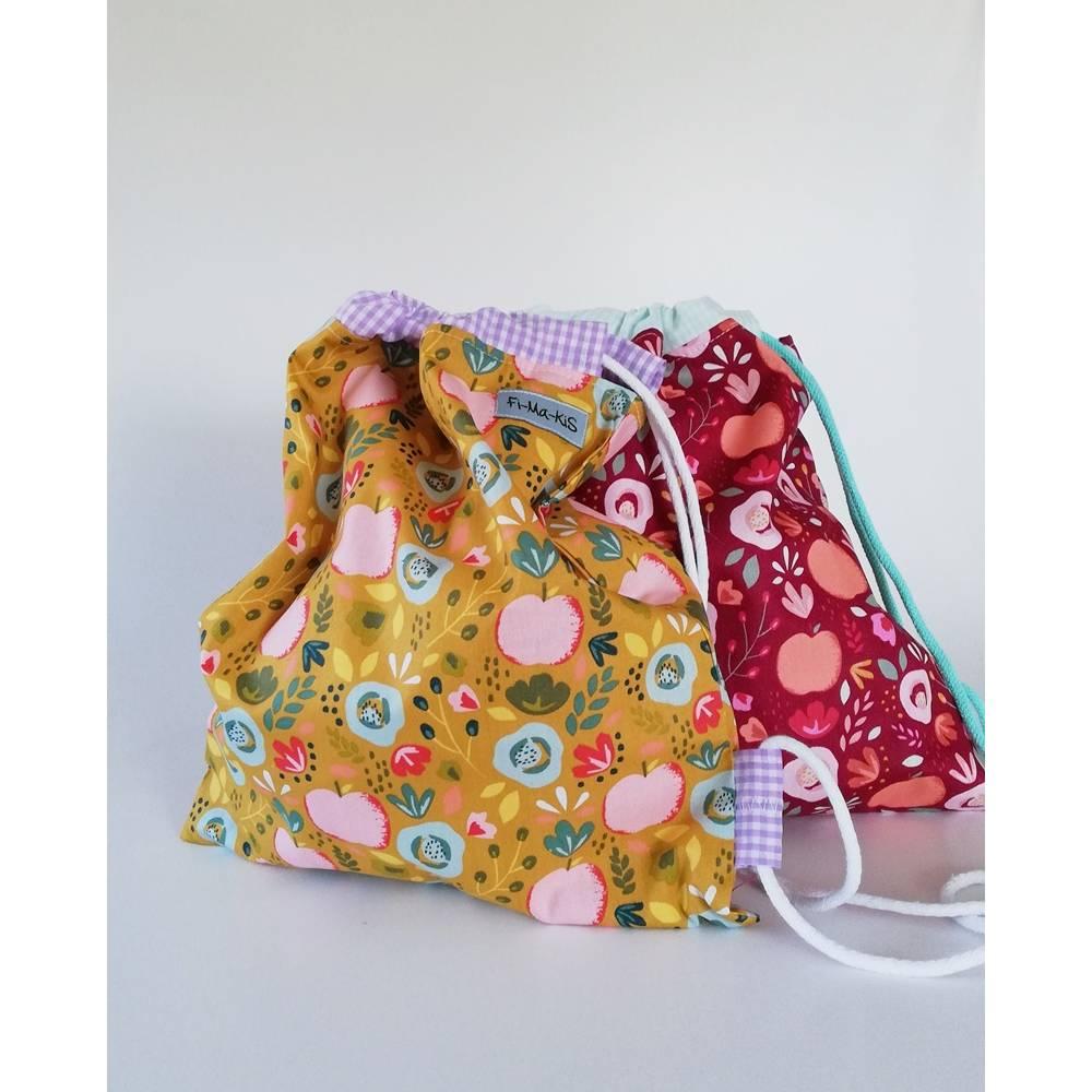Turnbeutel, Wäschesack Äpfelchen, Baumwolle -senfgrün oder weinrot, Handarbeit Bild 1