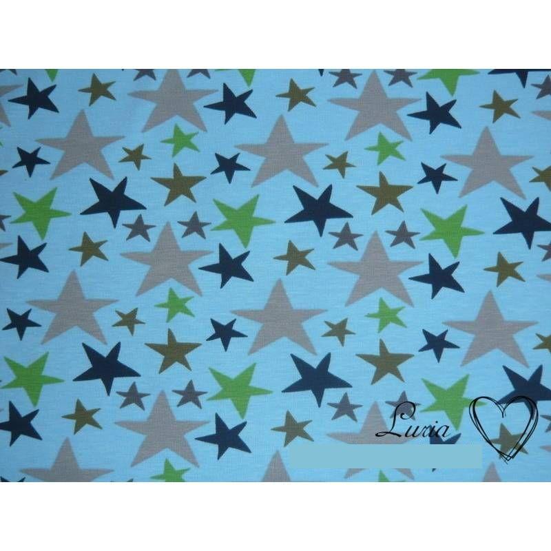 0,85m RESTSTÜCK Jersey Baumwolle Sterne auf hellblau Bild 1