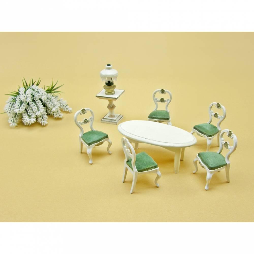 Vintage - Set alte Möbel Puppenstube Puppenmöbel Tisch Stuhl Lampe Bild 1