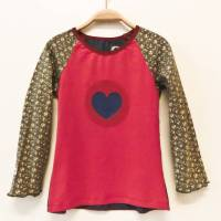 Langarmshirt 116 / 122 Herz pink blau braun  Mädchenshirt Upcyclingshirt Unikat Bild 1