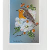 Weihnachtskarte/ Grußkarte-  Rotkehlchen mit Christrosen-   RESERVIERT  für Andrea