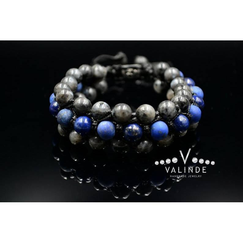 Edelsteinen Herren Dreifach-Armband aus Lapis Lazuli und Sodalith mit Knotenverschluss, Makramee Armband, 8 mm Bild 1