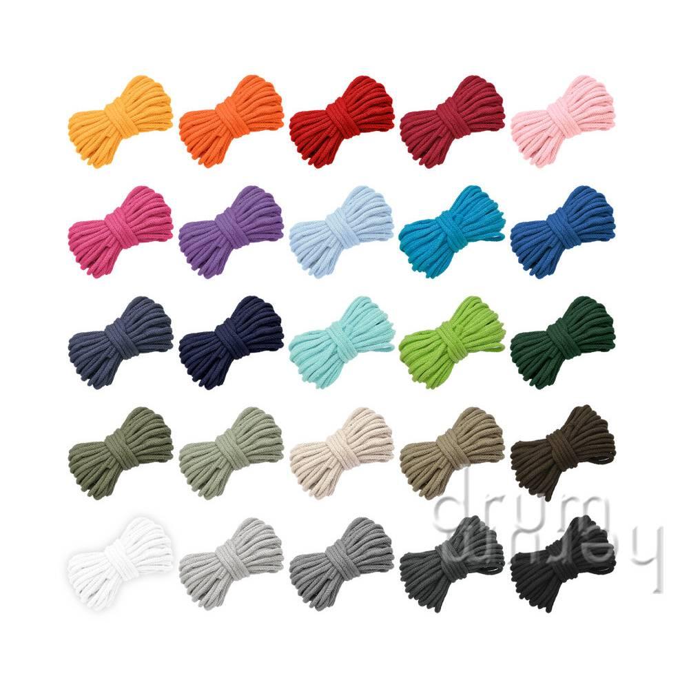 10m (31 ct/m) Kordel ø 6 mm Baumwolle mit Kunstfaserwerk / für Turnbeutel, Hoods etc. / schwarz, blau, rot, natur, grau, gelb, grün, weiß Bild 1