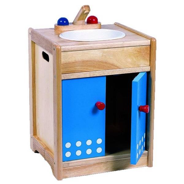 Kinderspüle Kinderküchenzubehör aus Holz, Spüle aus Holz Bild 1