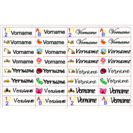 Namensaufkleber Bügeletiketten Aufkleber Etiketten Name Bild 1
