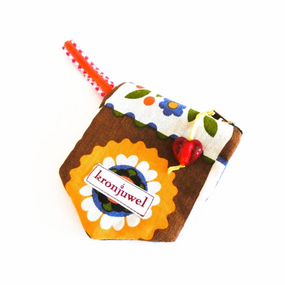 Geldbörse für Kinder, Upcycling, Jeanshosentasche + 70er Vintagestoff, Unikat, Portemonnaie, Täschchen, Geldtasche Bild 1