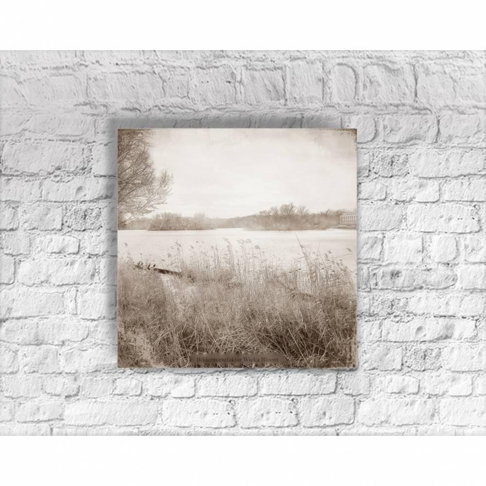 RUMMELSBURGER BUCHT Landschaftsbild auf Holz Leinwand Print Landhausstil Vintage Style Shabby Chic handmade kaufen Bild 1