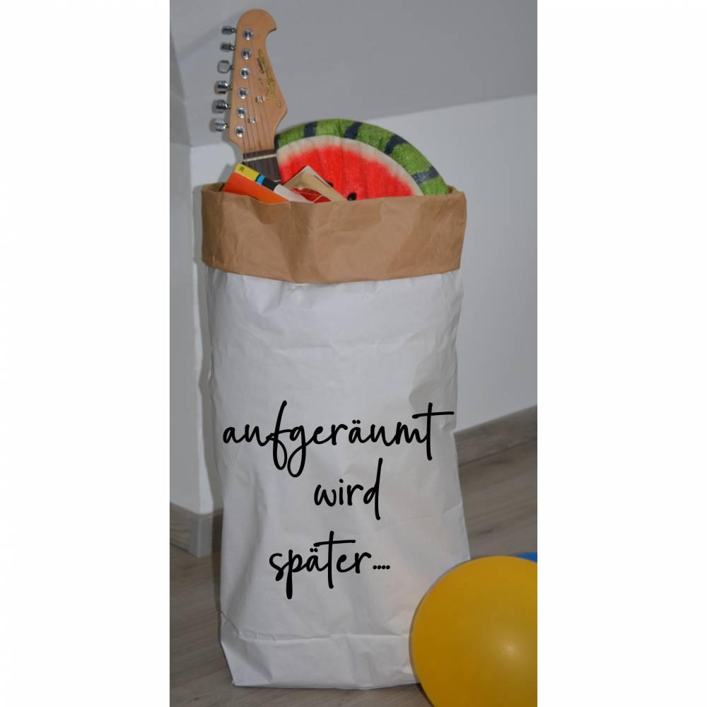 """Papiersack - Paperbag """"aufgeräumt wird später"""" - zur Aufbewahrung von allem was gerade keinen Platz hat ;-)  Bild 1"""