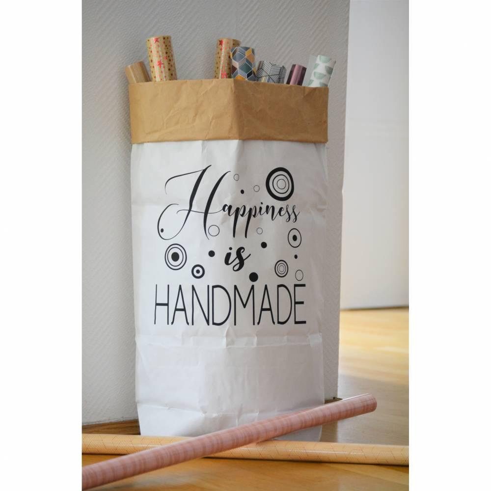 """Papiersack - Paperbag """"Happyness is Handmade"""" - zur Aufbewahrung und Dekoration  Bild 1"""