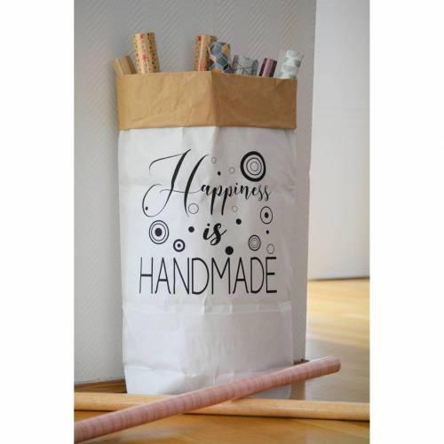 """Papiersack - Paperbag """"Happyness is Handmade"""" - zur Aufbewahrung und Dekoration"""
