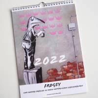 Kunztdruck-Froschkunzt-Kalender 2022, Kalender, Wandkalender, Kalender A4, lustiger Kalender, Froschkalender, Frosch  Bild 1