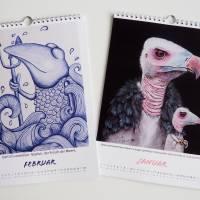 Kunztdruck-Froschkunzt-Kalender 2022, Kalender, Wandkalender, Kalender A4, lustiger Kalender, Froschkalender, Frosch  Bild 2