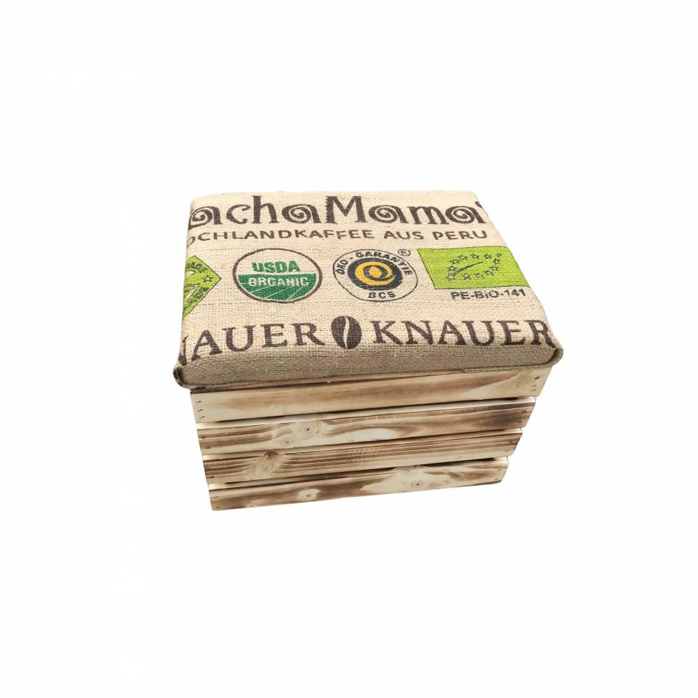 Obstkisten Weinkisten Holzkisten Hocker Shabby/Vintage rustikal/geflammt mit Sitzpolster und Kaffeesackbezug Handmade Geschenkidee Bild 1