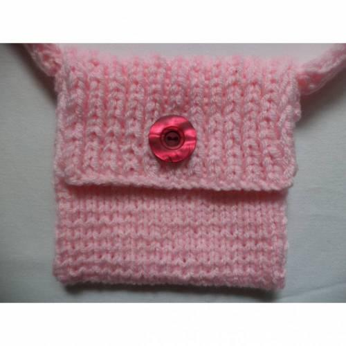 gestrickte kleine Tasche Kinder Handtasche 16cm x 16cm rosa