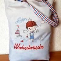 """Kindergartentasche aus Canvas / Wechselwäsche / maritim  """"Kleiner Schatz ganz groß im Kindergarten"""" Bild 1"""