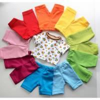 Farbenfrohes Set aus Herzchen-T-Shirt und Capri-Leggings in Regenbogenfarben für Puppen, gr. 40-43 cm Bild 1