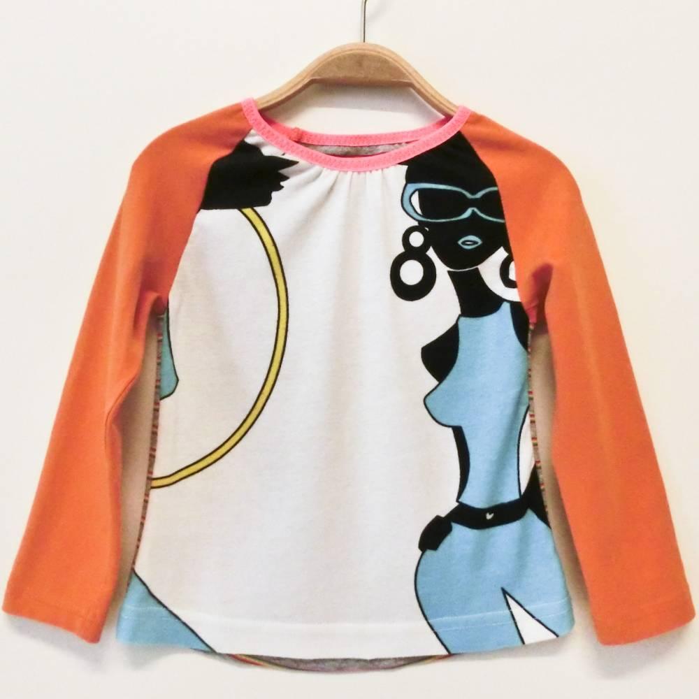 Shirt 104 / 110 langärmlig, Mustermix bunt, Mädchenshirt,Langarmshirt, Upcycling, Unikat Bild 1