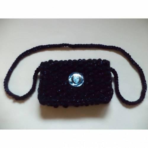 gestrickte kleine Tasche Clutch micro bag dunkelblau