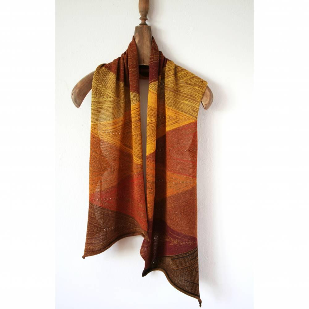 Handgefertigter Schal in Brauntönen, Strickschal mit Farbverlauf, Luxus Stola, Umschlagtuch, Unikat Schal, Erdfarben Bild 1
