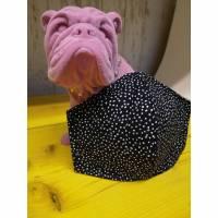 Behelfsmaske, Gesichtsmaske black dots muster, Nasen-Mund-Bedeckung , Maske, snutenpulli, NMB   Bild 1