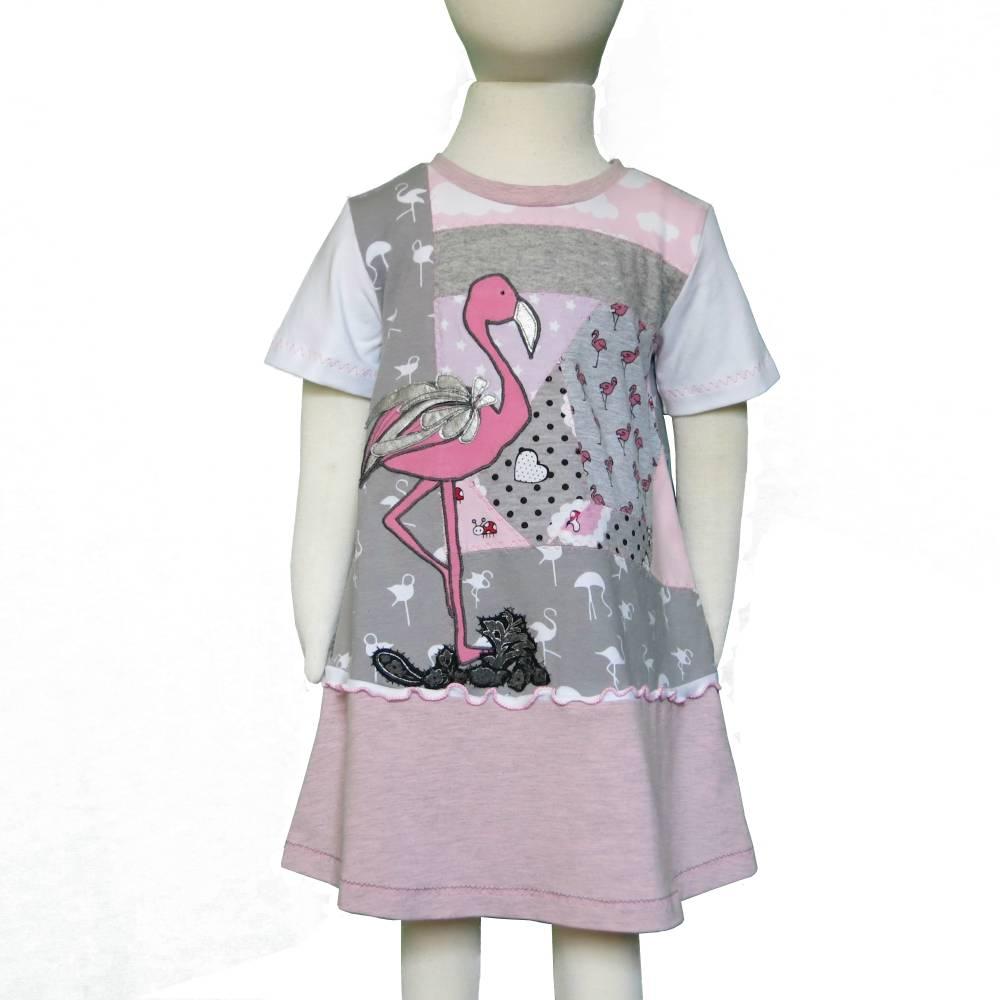"UPCYCLING Jerseykleid ""love Flamingo"" UNIKAT Größe 92 Bild 1"