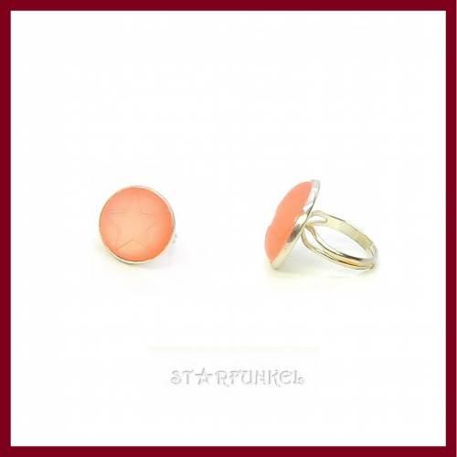 "Ring ""Stella Polaris"" STERN Cabochon 20mm rose peach, versilbert, verstellbar (offen)"