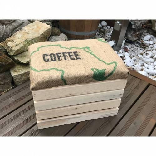 Obstkisten Weinkisten Holzkisten Hocker Shabby/Vintage natur mit Sitzpolster und Kaffeesackbezug Handmade