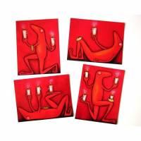 KÜHLSCHRANKADVENT - 4 Magnete in Postkartengröße, Adventkranz, Adventkalender,Kühlschrank Magnete, Weihnachtszeit, Adventszeit, Froschmagnet Bild 1
