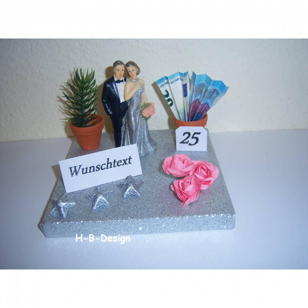 "Geldgeschenk Silberhochzeit ""Wunschtext"", Silberbrautpaar, Leinwand, Rosen,Sterne, Blumentöpfe Bild 1"