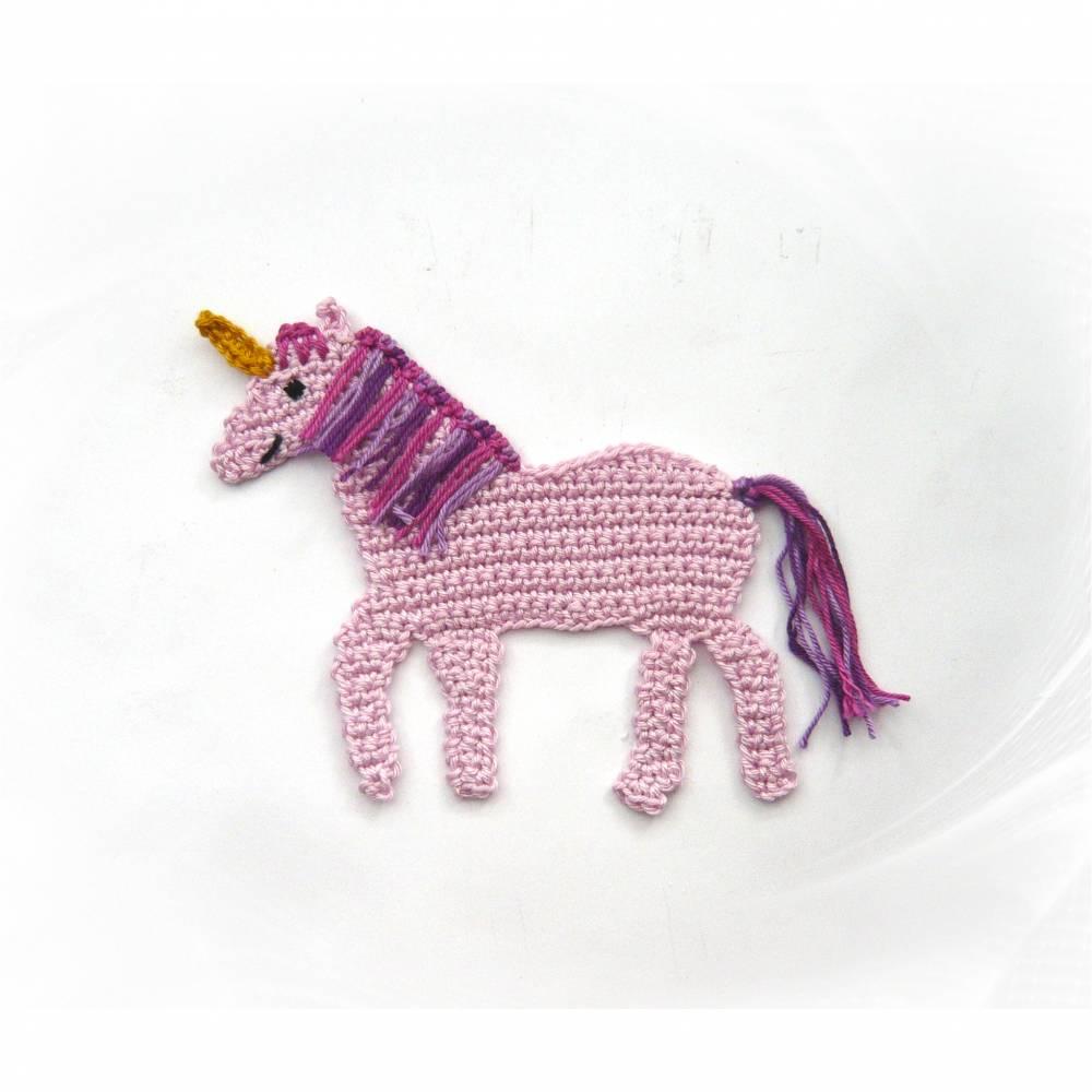 gehäkelte Einhorn Applikation rosa , Häkelapplikation Einhorn Schultüte Bild 1