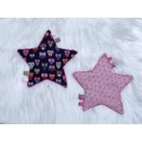 Knisterstern Eulen; Knistertuch rosa/pink; Babyspielzeug; Geschenk Geburt/Taufe  Bild 1