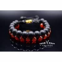 Edelstein Herren Doppel-Armband aus Onyx und Karneol mit Knotenverschluss, Makramee Armband, 8 mm Bild 1
