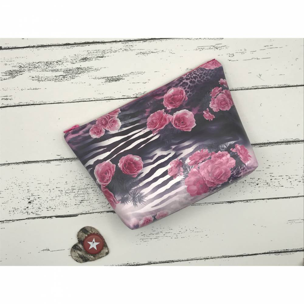 Kosmetiktasche Kosmetikbeutel Reisebeutel animal rose pink Kunstleder Bild 1