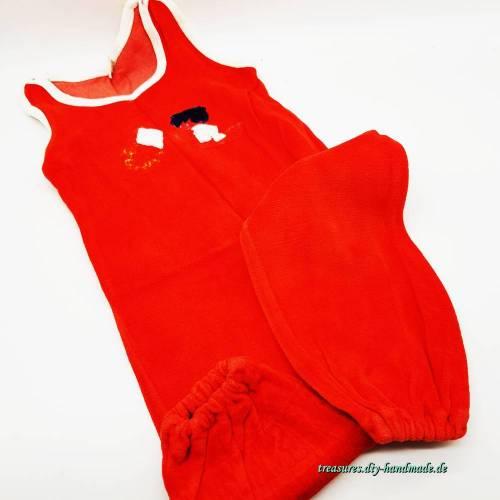 Vintage Baby Strampler in rot, Nicki Scher Plüsch Größe 86/92