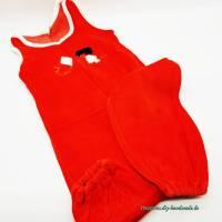 Vintage Baby Strampler in rot, Nicki Scher Plüsch Größe 86/92 Bild 1