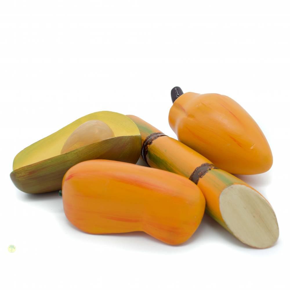Papaya, Zuckerrohr, Mango, Avocado Kaufladenartikel Set mit 3 Teilen Bild 1