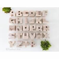 Alphabet Buchstaben Zahlen Holz Buche natur als Geschenk oder Deko im Set Bild 1