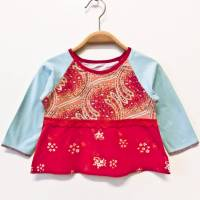 Babyshirt langärmlig 80 / 86 rot hellblau beige Mustermix Upcycling Unikat Bild 1