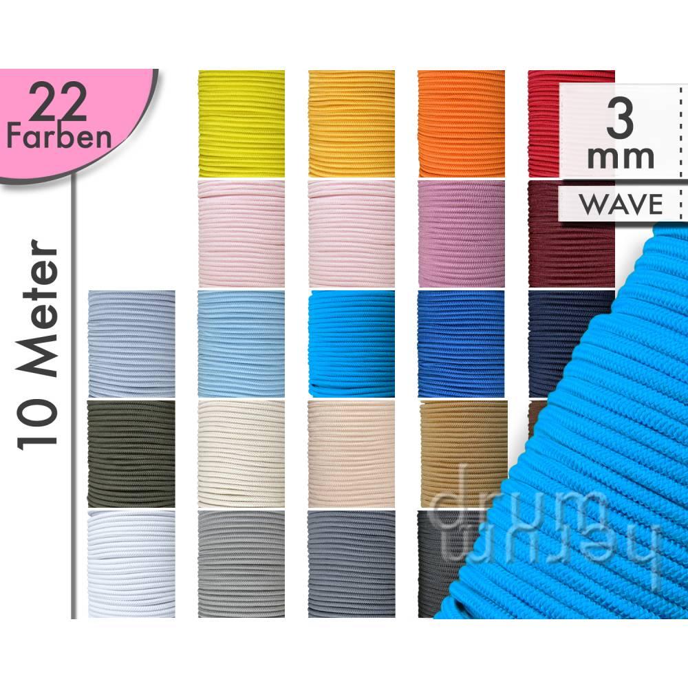 10 m (33 ct/m) Gummikordel 3 mm WAVE - gelb, rot, grün, blau, schwarz, grau, weiß, lila, rosa, orange, creme, beige, braun Bild 1