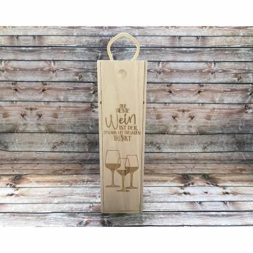 Weinkiste Weinbox Geschenkbox Holzkiste Box Geschenkidee Holz Präsentbox Flaschen Flaschenhalter Laser graviert Wein Weihnachten Geburtstag